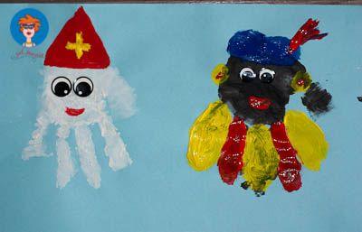 Knutselopdracht - Sinterklaas en Zwarte Piet gemaakt van geverfde handjes