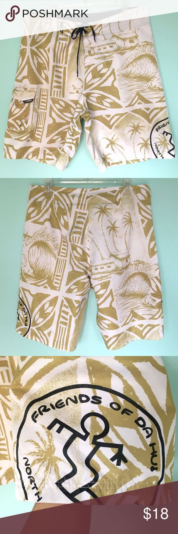 Da Hui Hawaii Boardshorts Tropical Aloha Print 34 Da Hui North Shore Oahu Board Shorts w/ Tropical Aloha Print and Drawstring/Tie/Velcro closure and one side cargo pocket. Size 34. White with light olive green print. Used, good condition, except for some light stains in a few spots (shown in pics). Great for surfing, swimming and chilling at the beach, or for any casual wear. 🏝 Da Hui Swim Board Shorts