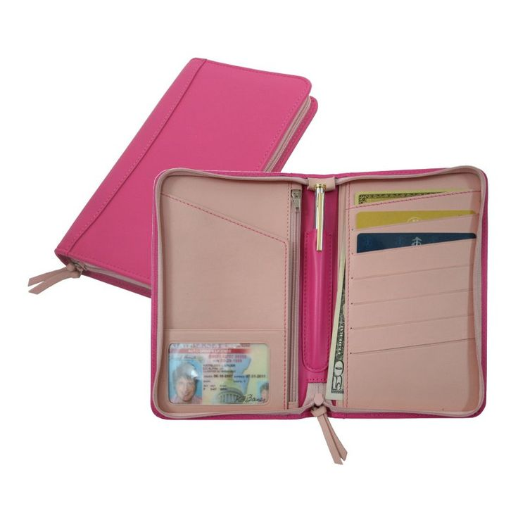 Royce Leather Passport Travel Wallet - Wildberry-Carnation Pink - 225-WBCP-5
