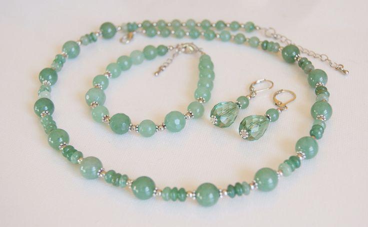 Zöld aventurin ásványékszerszett - Aventurine jewellery set  #aventurinejewellery #aventurinasvanyekszer