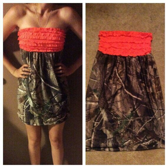 Cute strapless camo dress with a pink ruffle top