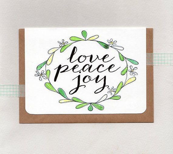 LOVE PEACE JOY . christmas greeting card . art . by ThePaisleyFive