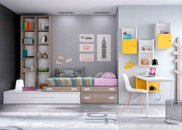 Habitación Juvenil de linea modular con 2 camas