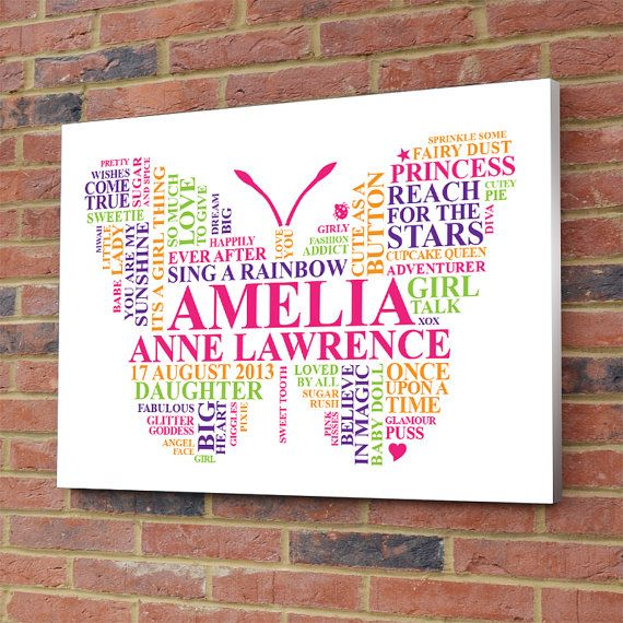Personalised Butterfly Word Art. Little girl gift. Playroom girly bedroom printable picture unique present
