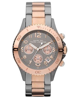 Marc by Marc Jacobs Watch, Women's Chronograph Gunmetal and Rose Gold   ...I love the rose gold and grey combo