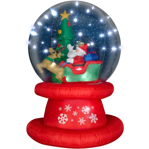Tall airblown christmas inflatable snow globe with