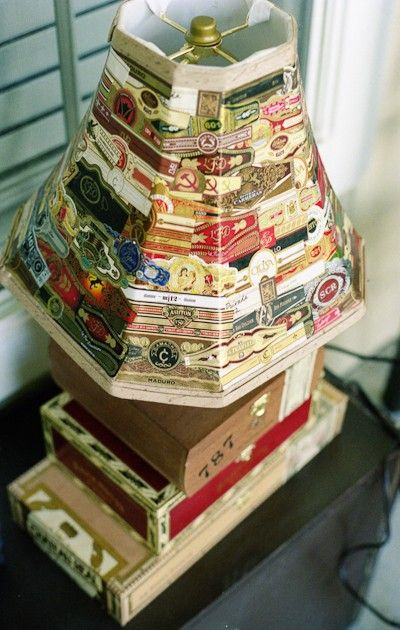 I love cigar boxes for organization.  How can I not like a cigar box lamp?Lights Lamps, Lampshades, Cigars Boxes, Cigars Band, Cigars Wrappers, Cigar Boxes Crafts, Cigars Smoke, Boxes Lamps, Band Lamps