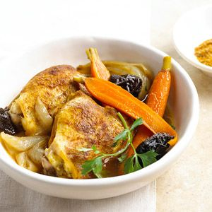 Slow Cooked Moroccan Chicken An easy main dish recipe that perfectly blends slow cooked chicken thighs with plums, baby carrots, and onions.