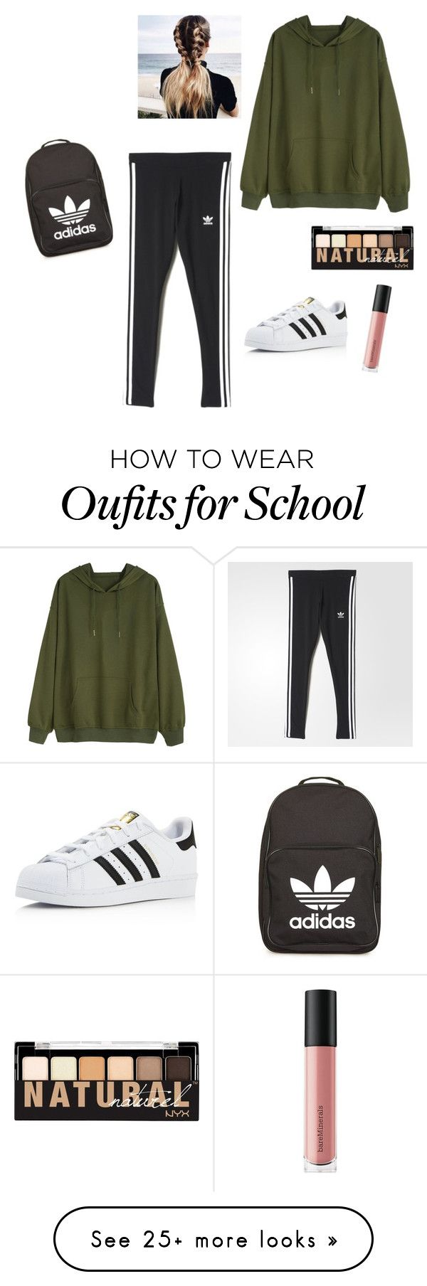 """""""School Outfit #4"""" by fashionislife-759 on Polyvore featuring adidas, NYX and Bare Escentuals"""