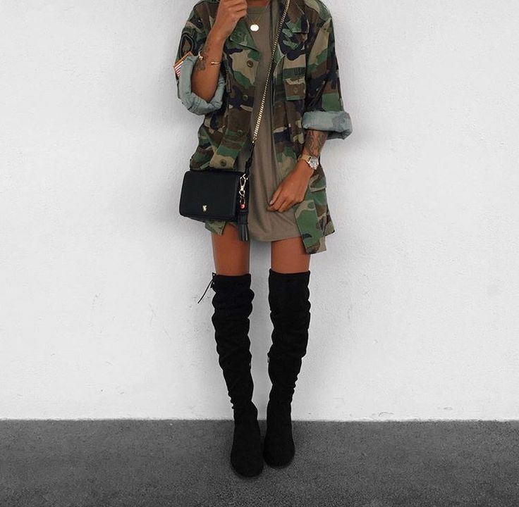 Goals. Pretty. Skinny. Camo jacket. Thigh high boots. Tshirt dress.