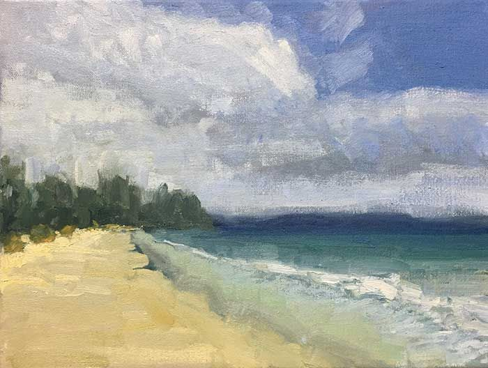 Seascape Painting Tutorial Learn How To Paint This Simple Tasmanian Seascape Seascape Paintings Easy Landscape Paintings Abstract Landscape Painting
