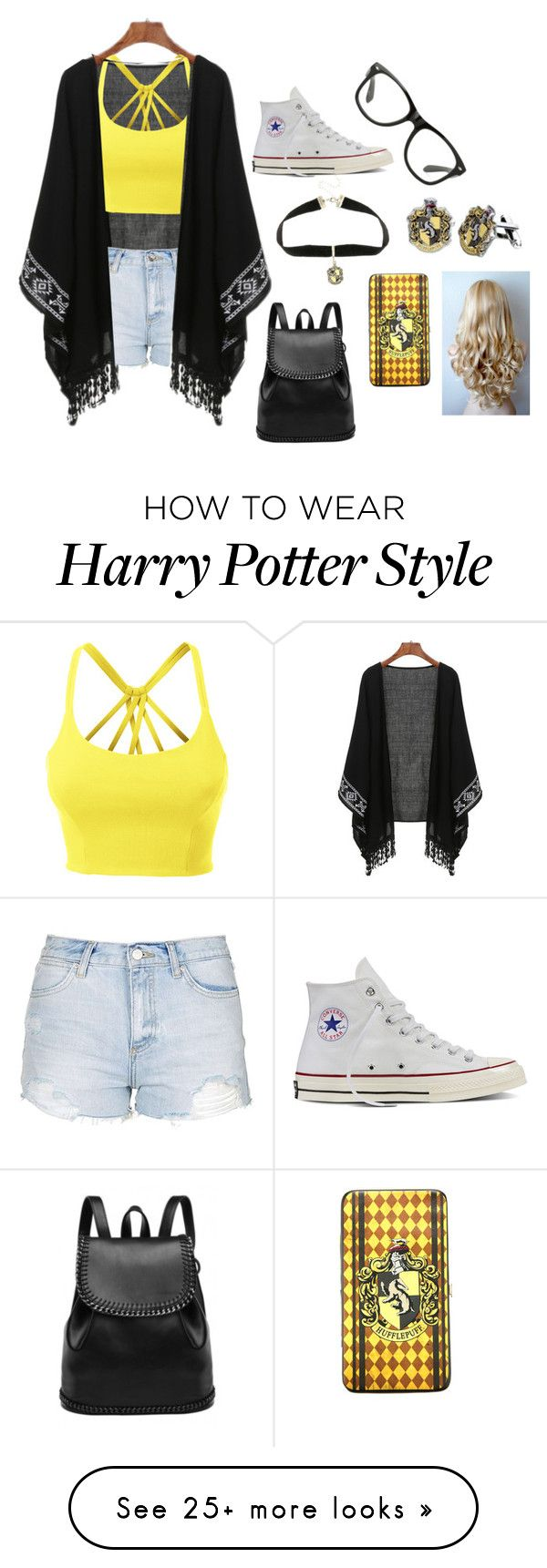 """""""Hufflepuff"""" by crazybacon9 on Polyvore featuring Converse, Warner Bros., LE3NO and Topshop"""