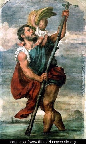 Saint Christopher - Tiziano Vecellio (Titian) - www.titian-tizianovecellio.org