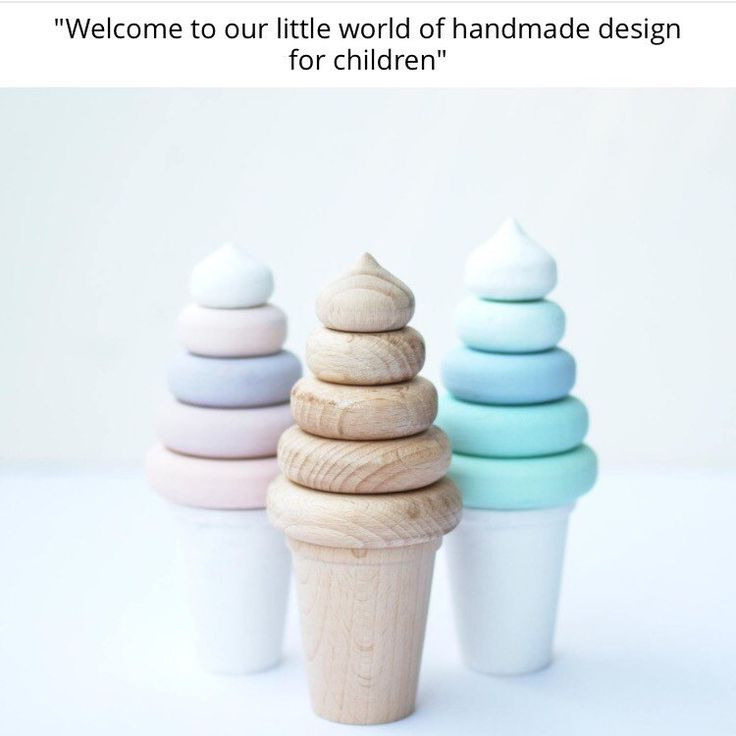 Ice cream stackers are a brand new design to join our shop. Made of great quality beech wood and CE certified. Perfect for the little ones for gentle play or as a playroom/nursery decoration