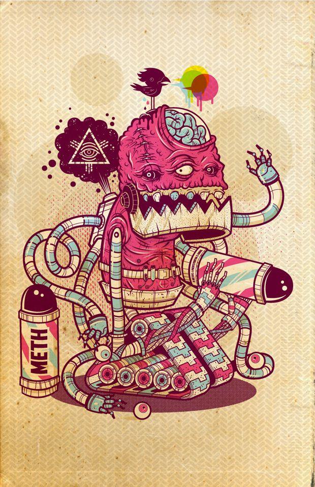 Los monstruosos personajes ilustrados de Ahmed Sidky