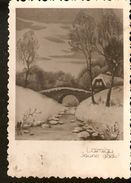 k. Old Latvia Happy New Year photo postcard - Winter Landscape view Bridge House River | For sale on Delcampe