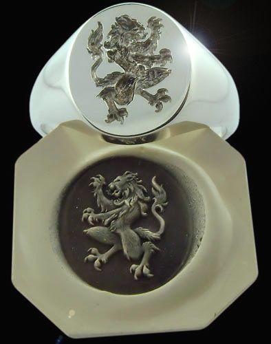 Gothic Lion Signet Ring