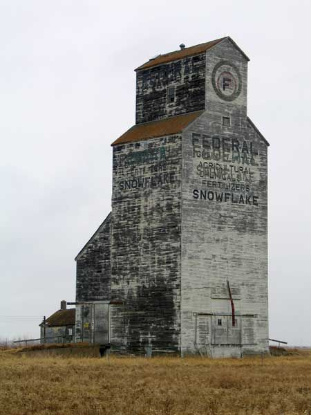 Derelict Grain Elevator in Snowflake, Manitoba...Thaks again, Keltie! Derelict? YOU MEAN IT GETS DRUNK??...