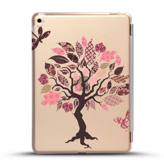 Coque iPad compatible avec iPad mini 4, iPad Pro 9,7 pouces, iPad Air 2, couvercle amovible à puce, papillon arbre Design