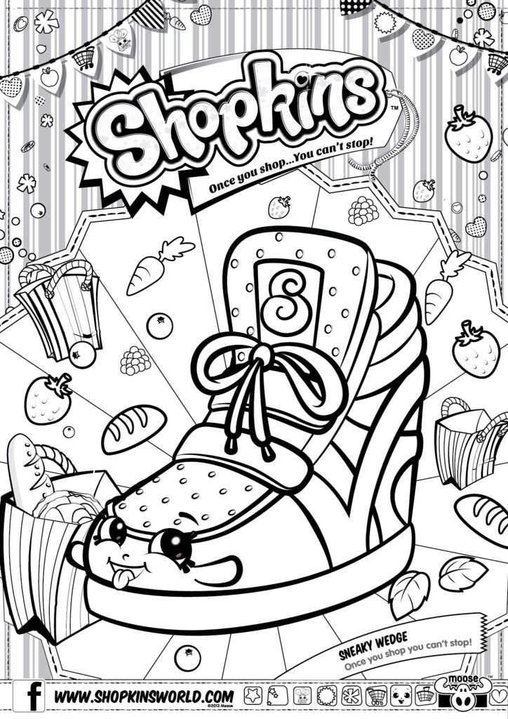 Shopkins Colour Color Page Sneaky Wedge ShopkinsWorld shopkins coloring pages Pinterest