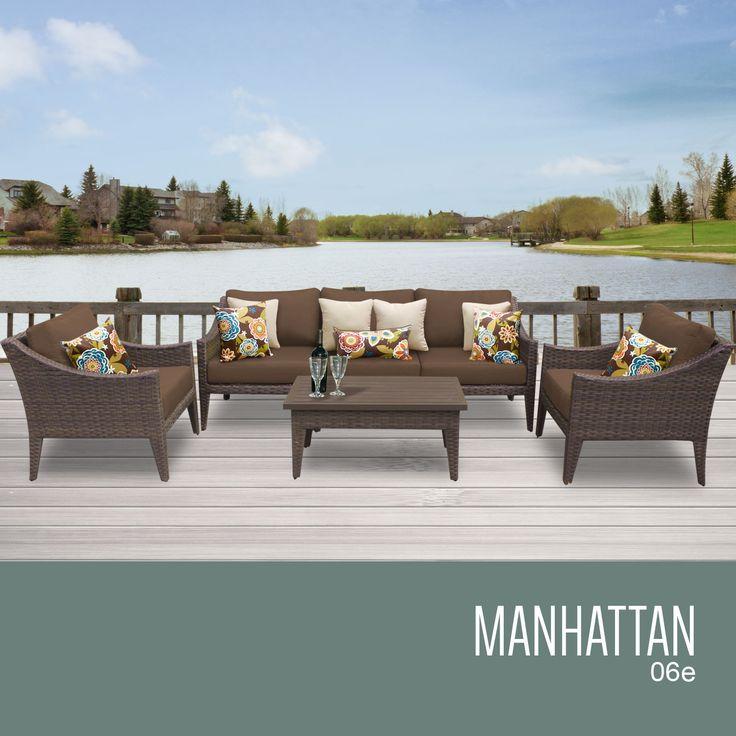 Manhattan 6 Piece Outdoor Wicker Patio Furniture Set 06e