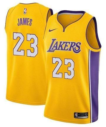 8463943c4 Men 23 Lebron James Jersey Yellow Los Angeles Lakers Swingman Jersey ...