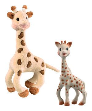 Specifically designed to engage all of Baby's senses, Sophie La Girafe has become a beloved companion for children across the globe—including Hollywood! The teething giraffe is made of rubber that comes from the Hevea tree, which makes it especially safe for those all day chew-a-thons. The plush giraffe includes a tinkling bell, engaging tactile and auditory senses for le bébé.