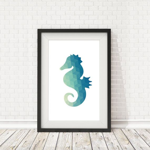 Sea horse poster Sea horse print Sea horse by BatLabPrintables