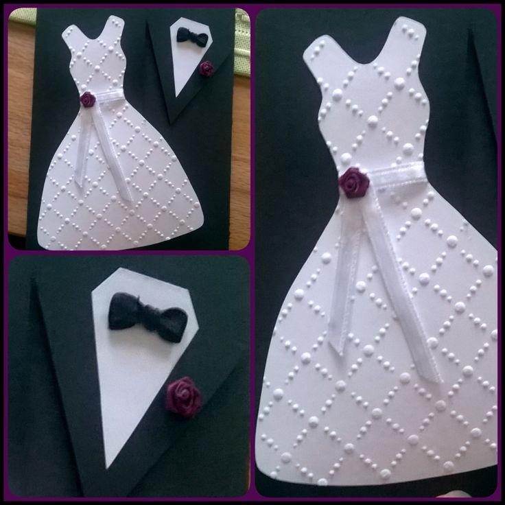Selfmade Weddingcard with bride and groom, Diy card