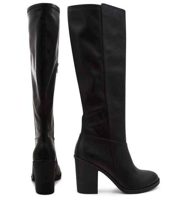 Black Leather-Look Stretch Knee High Boots | New Look