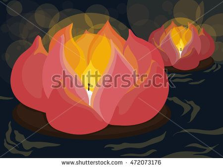 Poster with beauty lotus lantern floating in the river guiding the lost souls in…