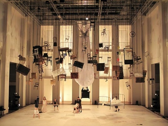 Chiharu Shiota: Oedipus Rex, Inspiration, Chiharu Shiota, Hanging Furniture, Beautiful Theatre, Art Installations, Hanging Chairs, Sets Design, Staging Design