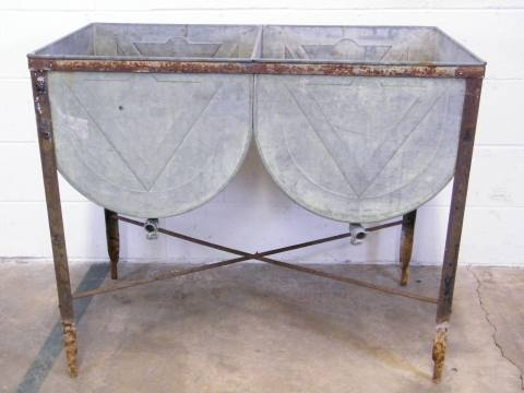 Columbus architectural salvage double bowl metal wash for Old metal wash tub