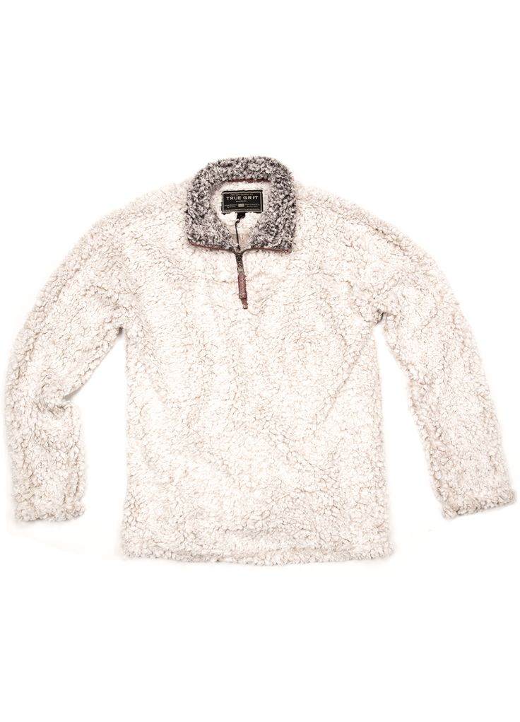 The True Grit Frosty Tipped 1/4 Zip Pullover 61M65FTP Back again! The True Grit cozy, plush sherpa-style pullover is perfect for cool weather and holiday gifts. This item will sell out fast, so get yo