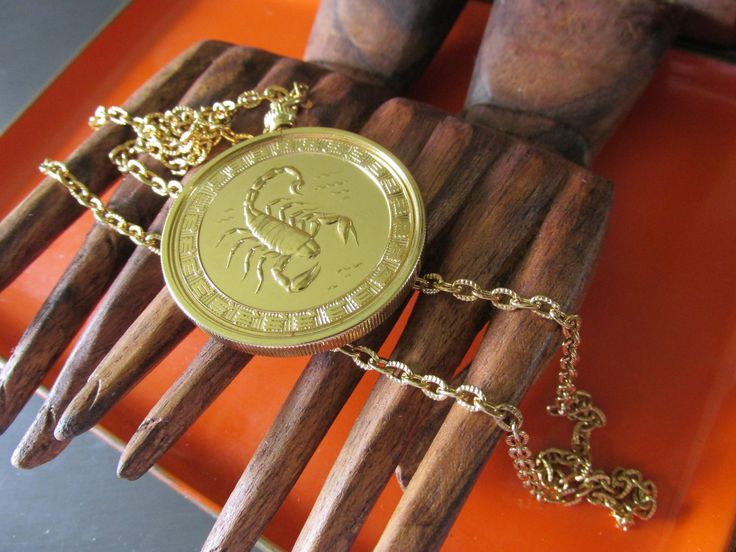 """New Old Stock Jeane Dixon SCORPIO ZODIAC 24"""" NECKLACE 1 5/8"""" Round Pendant Gold Plating Uni Sex Collectible Gift Birthday Oct 24 - Nov 22 by GrammiesCupboard on Etsy"""