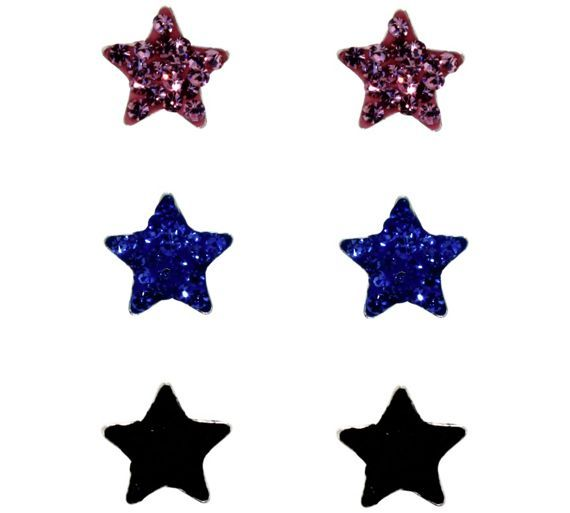 Buy Link Up Sterling Silver Glitter Star Stud Earrings - 3 at Argos.co.uk, visit Argos.co.uk to shop online for Ladies' earrings, Ladies' jewellery, Jewellery and watches
