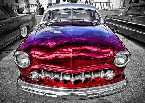 Candy Paint Lowrider Front - The Paint On This Classic Lowrider Is Amazing. A Red That Looks Purple Against The Blue California Sky