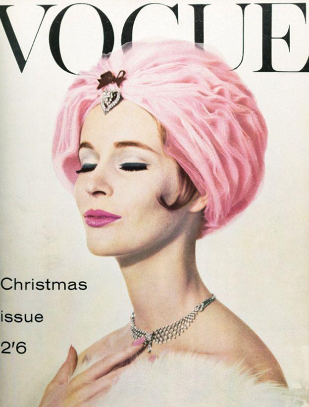 pink turban, Vogue , December 1960.