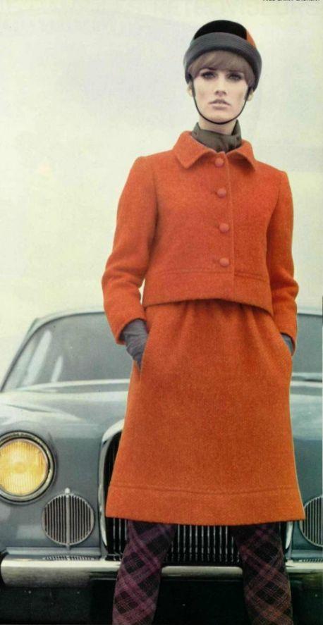 1965 Yves Saint Laurent vintage fashion style color photo print ad mod 60s suit skirt jacket orange hat tights designer couture