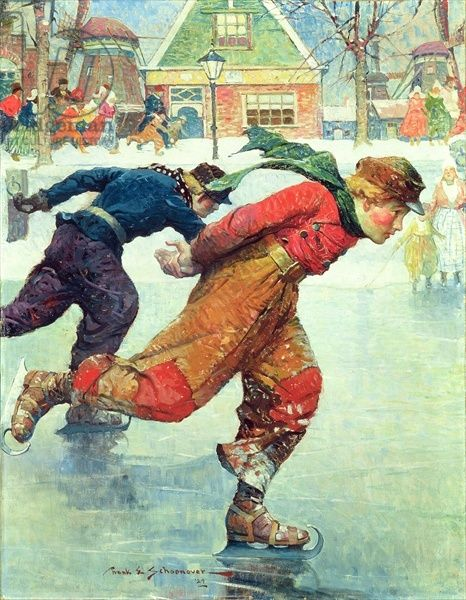 Cover illustration for 'Hans Brinker and the Silver Skates' by Mary Mapes Dodge, 1929 (oil on canvas) - Love this story!