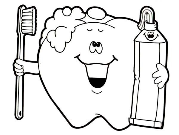 Dental Health Brush Your Teeth For Coloring Page