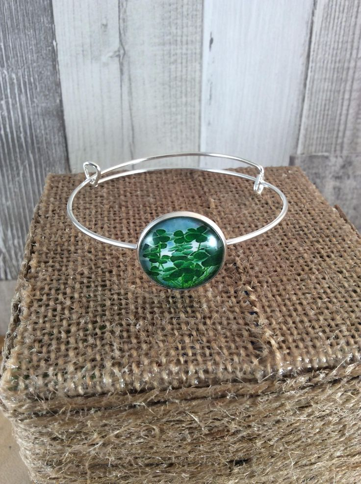 Saint Patricks day, Ladies bracelet, Green jewellery, Clover bracelet, Lucky bracelet, Expandable bangle, Adjustable bracelet, Gift for her by Angelscrafts1 on Etsy