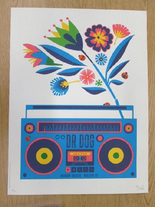Original silkscreen concert poster for Dr Dog at The Boulder Theatre in Boulder, CO in 2014. 18 x 24 inches. Signed and numbered out of only 170 by the artist Dan Stiles.