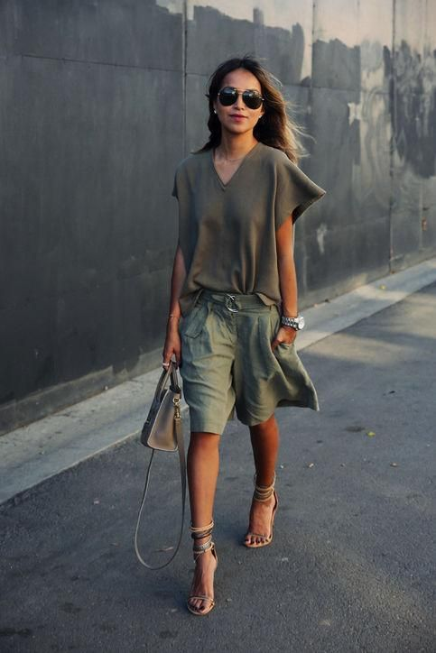 Casual summer work outfit idea: a green short-sleeve sweater and matching culottes, inspired by Sincerely Jules