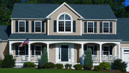 Pebblestone Clay Our New Siding Color With Black Shutters