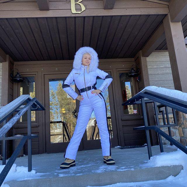 Women Ski jumpsuit white with print inserts Ski overall jacket Ski Winter suit Snowboarding suit Winter jacket Winter warm pants Winter suit