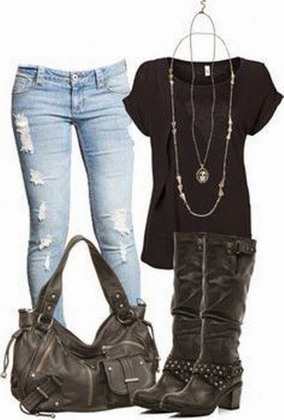 Black, Comfort Shirt, Light Blue Tattered Jeans, Black Leather Long-Necked Winter Shoes, Black Leather, Big, Beautiful Hand Bag. | Street Fashion