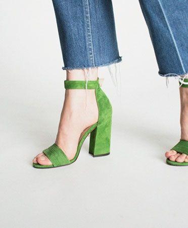 Pura Lopez Allover Green Suede Heel