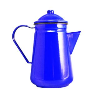 Falcon Enamel Coffee Pot Blue 13cm. Sturdy enamel tableware range, for all occasions. Vitreous double coated enamel. Free Delivery on orders over £50.00.