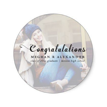 Congratulations Graduate Photo and Name Sticker - script gifts template templates diy customize personalize special